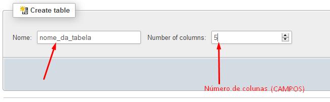 Criar tabela no phpMyAdmin