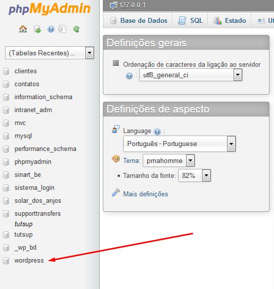 Base de dados do WordPress