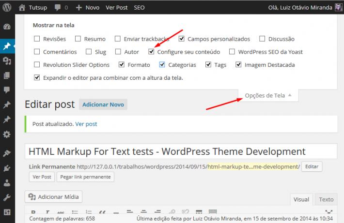 Opções de tela do WordPress