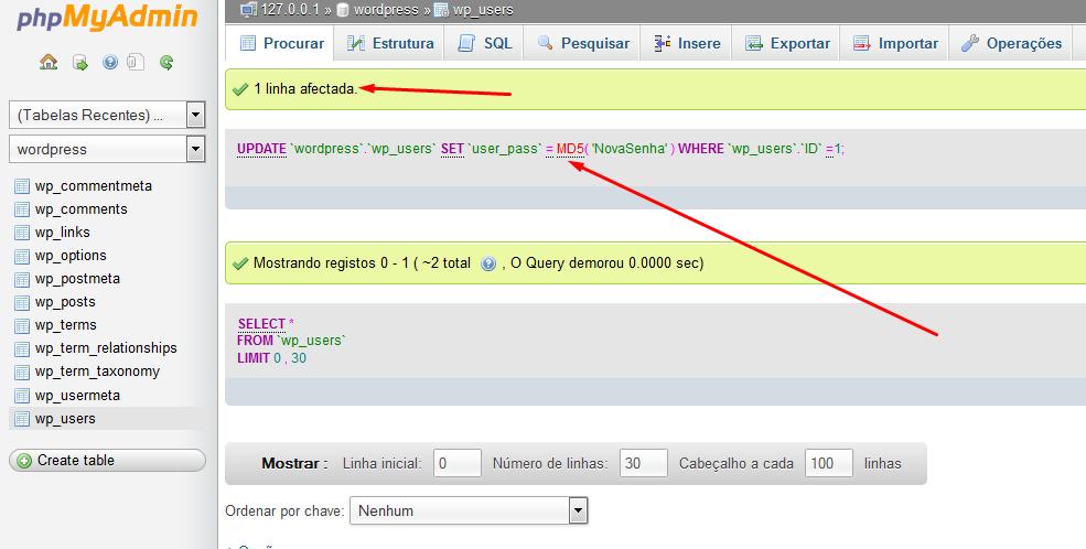 Comando SQL executado com sucesso