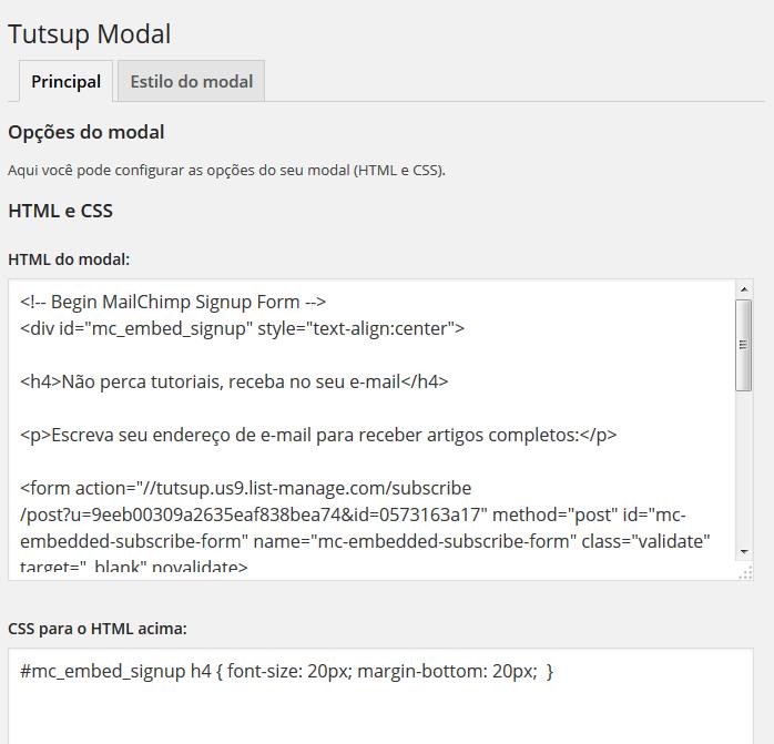 HTML e CSS no Tutsup Modal