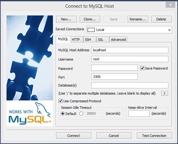 Configuração do SQLyog