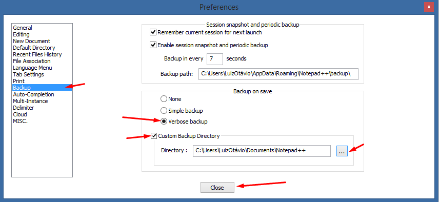 "Configurando o ""Backup completo"" no notepad++"