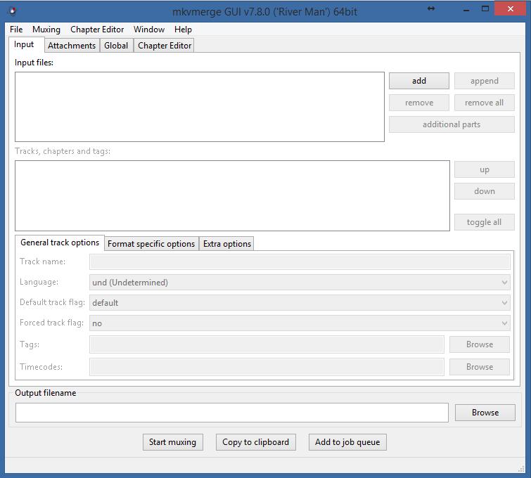 Tela do mkvmetge GUI