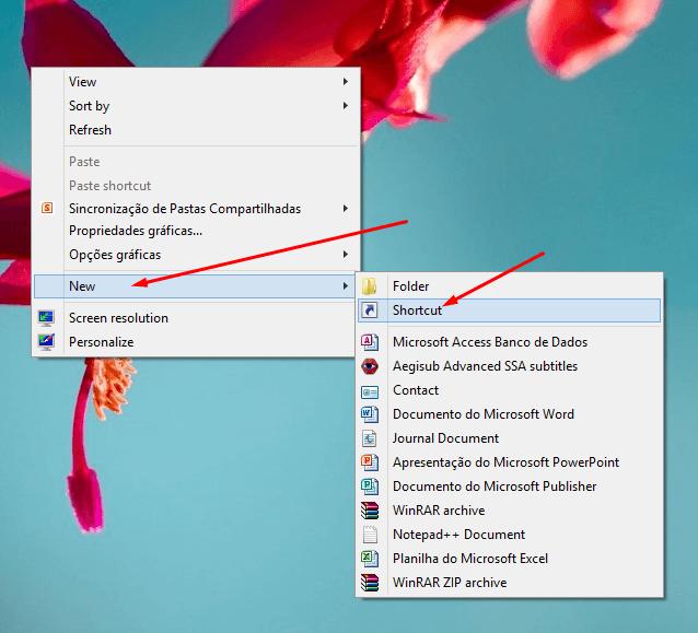 Novo atalho na Área de Trabalho do Windows