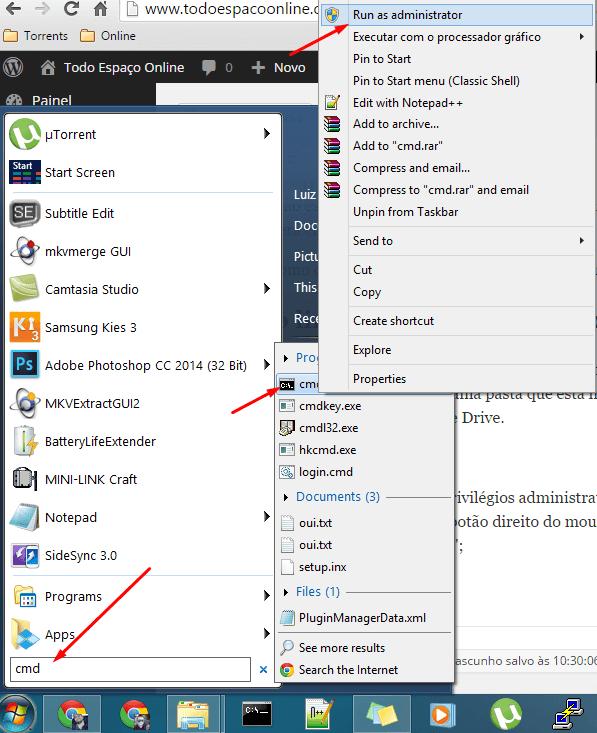 Prompt de comando como Administrador no Windows 7