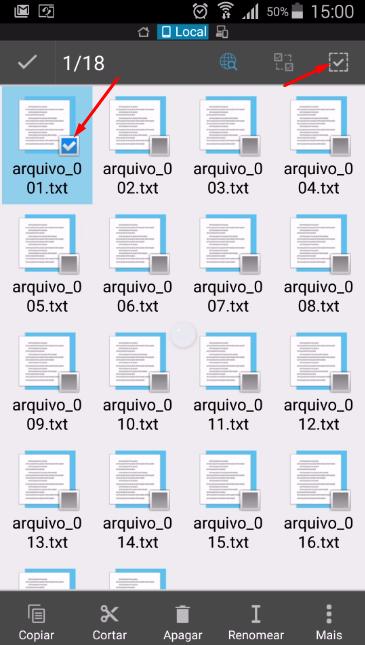 Um arquivo selecionados - Selecionar todos
