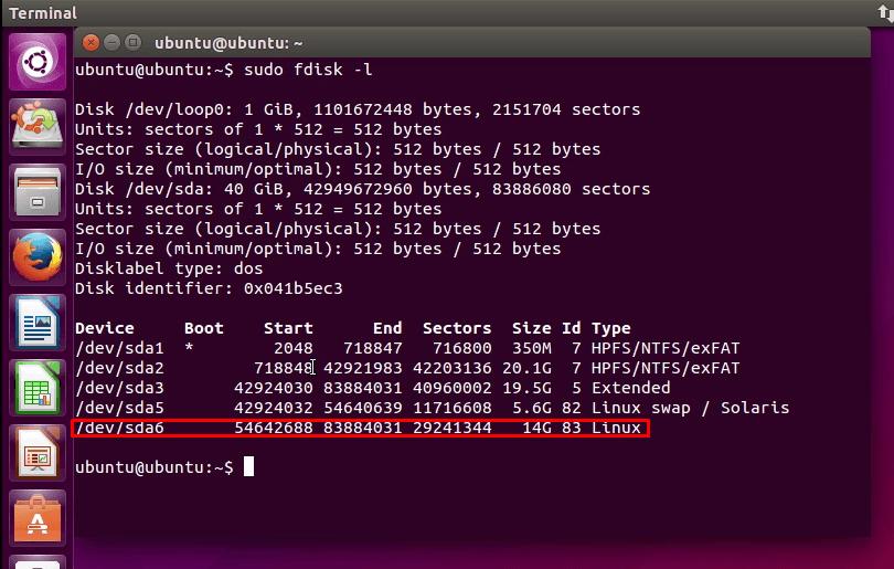 Partição do Linux (Ubuntu)