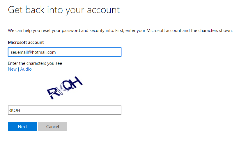 Digite o e-mail para o qual deseja recuperar a senha e preencha a imagem de verificação;