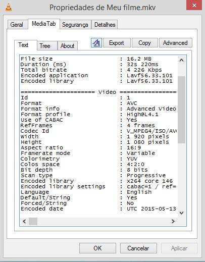 O bitrate diminuiu bastante, o tamanho do arquivo final também (de 177MB para 16MB)