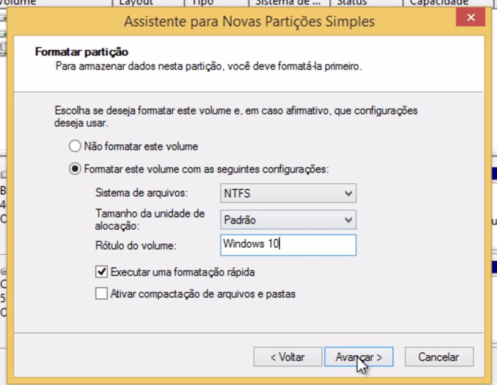 """Agora defina apenas o rótulo da partição para """"Windows 10"""""""