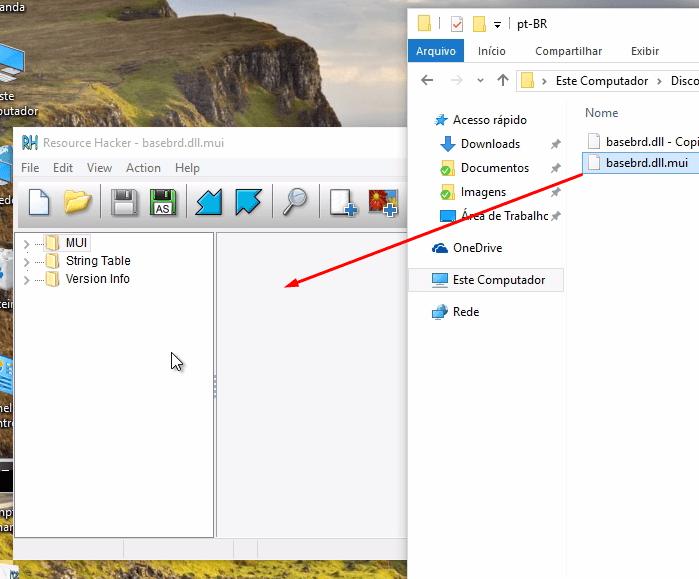 Arrastando o arquivo desejado para o Resource Hacker