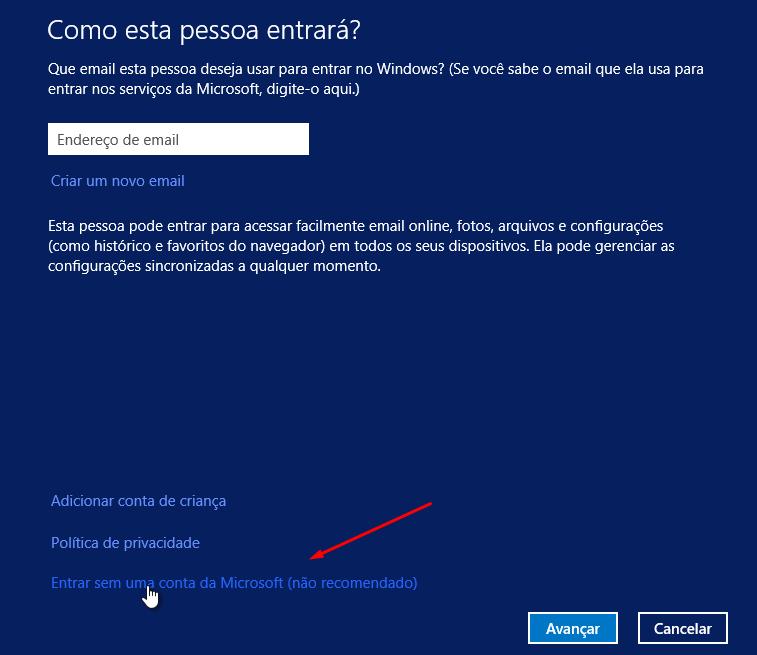 Entrar sem uma conta Microsoft