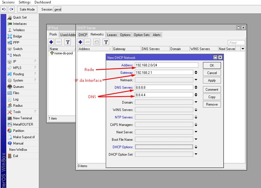 Rede do servidor DHCP