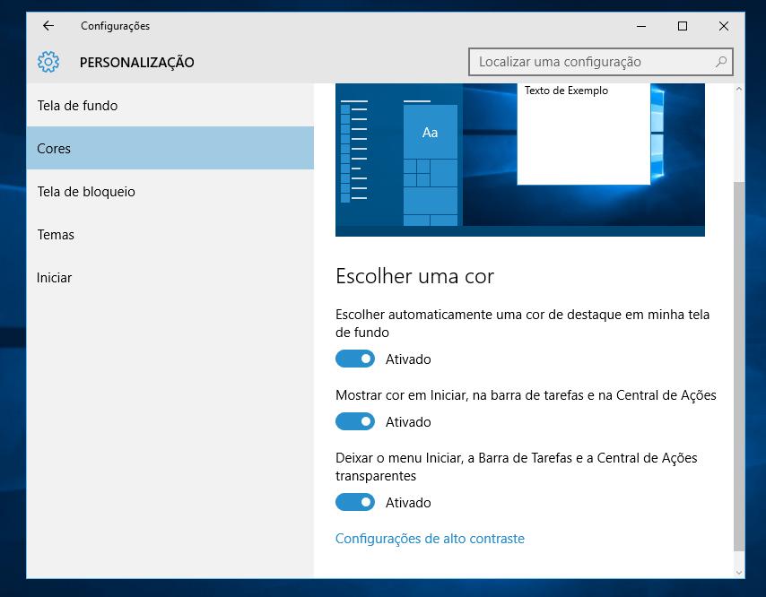 Personalizando cores no Windows 10