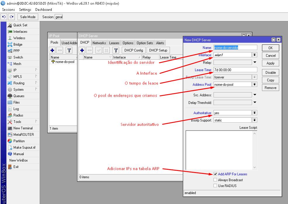 Configurando o servidor DHCP