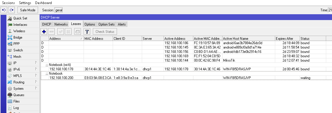 Aba leases de um servidor DHCP no Mikrotik