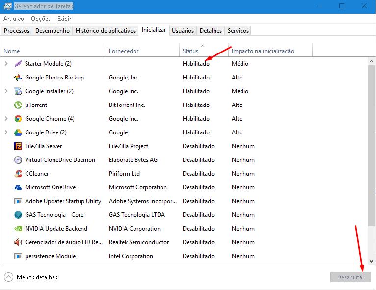 Otimizando a inicialização do Windows 10