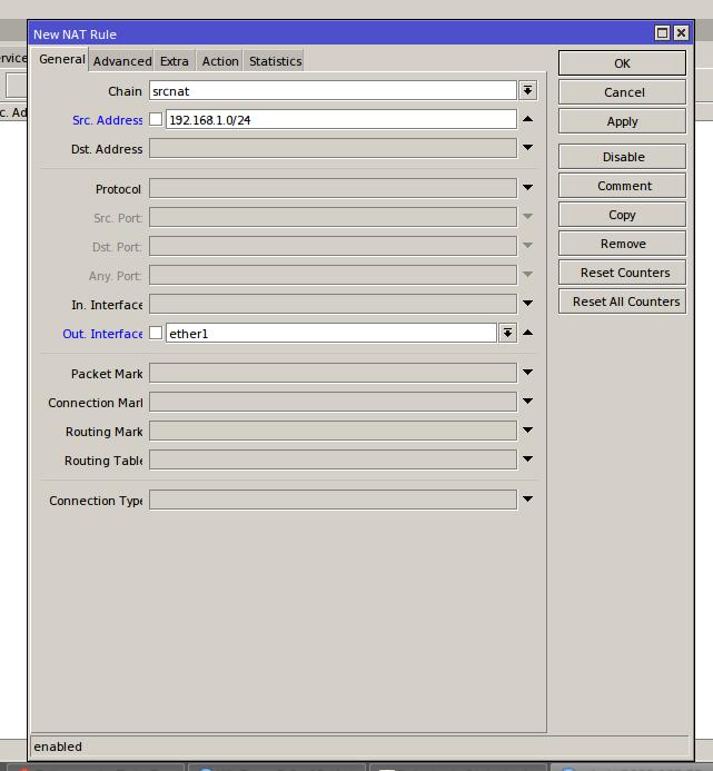 Exemplo de configuração de src-nat no Mikrotik