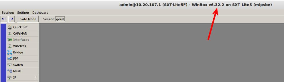 RouterOS atualizado.