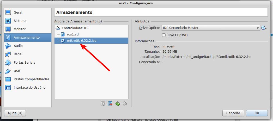 ISO do Mikrotik RouterOS selecionada
