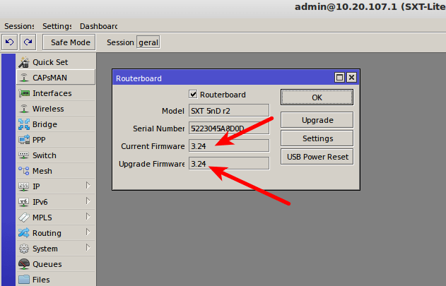 Versões do firmware atual e do firmware da atualização