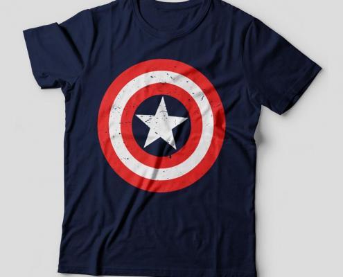 Camiseta escudo Capitão América - Feminina Azul Marinho