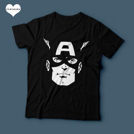 Camiseta Capitão América Feminina Preta