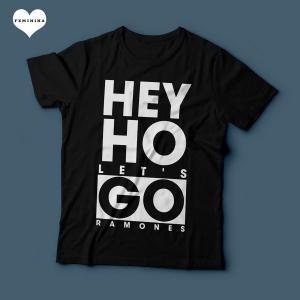 Camiseta Ramones Hey Ho Lets Go Feminina Preta