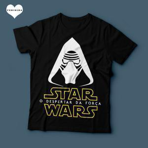 Camiseta Star Wars O despertar da força Feminina Preta
