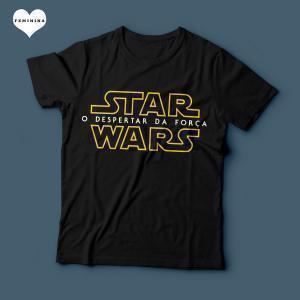 Camiseta Star Wars O despertar da força Logo Feminina Preta