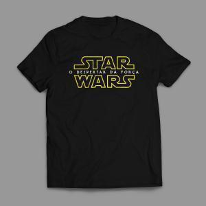 Camiseta Star Wars O despertar da força Logo Masculina Preta