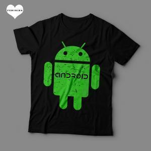 Camiseta Android Feminina Preta