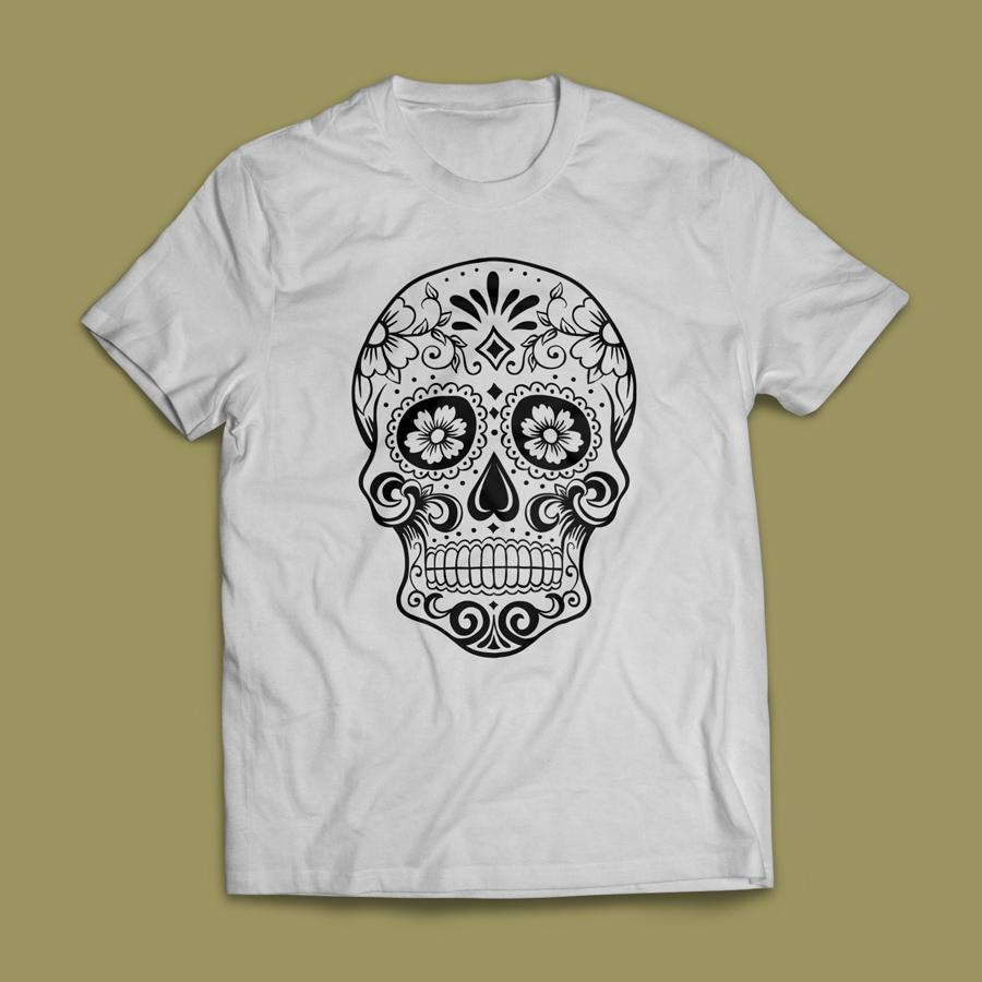 Camiseta Caveira Mexicana Masculina Branca