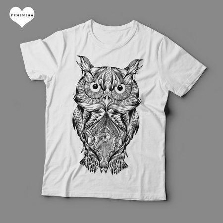 Camiseta Coruja Arte Feminina Branca