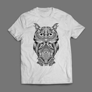Camiseta Coruja Arte Masculina Branca