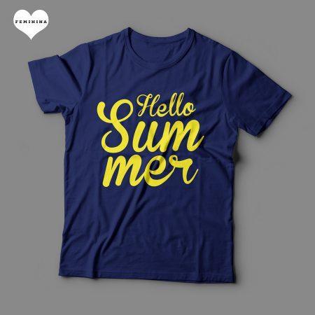 Camiseta Hello Summer Feminina Azul Marinho