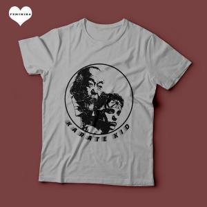 Camiseta Karate Kid Feminina Cinza Mescla