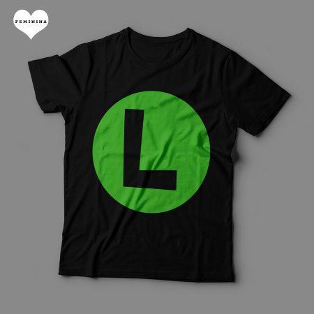 Camiseta Luigi Emblema Feminina Preta
