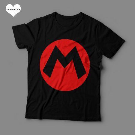 Camiseta Mario Emblema Feminina Preta