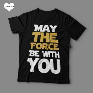 Camiseta May The Force Be With You Feminina Preta