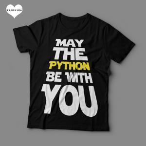 Camiseta May The Python Be With You Feminina Preta