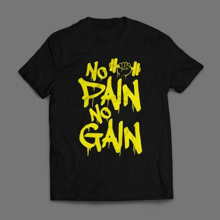 Camiseta No Pain No Gain Masculina Preta