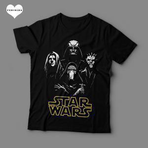 Camiseta Star Wars Vilões Feminina Preta