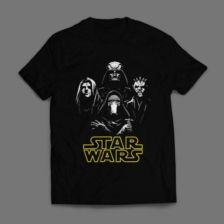 Camiseta Star Wars Vilões Masculina Preta