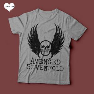 Camiseta Avenged Sevenfold Feminina Cinza Mescla