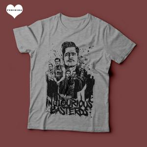 Camiseta Bastardos Inglórios Feminina Cinza Mescla