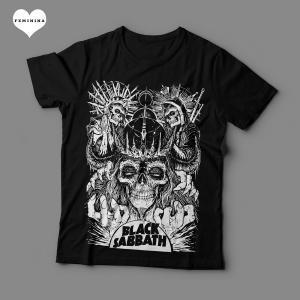 Camiseta Black Sabbath Arte Feminina Preta