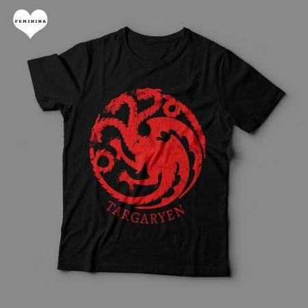 Camiseta Casa Targaryen Game Of Thrones Feminina Preta