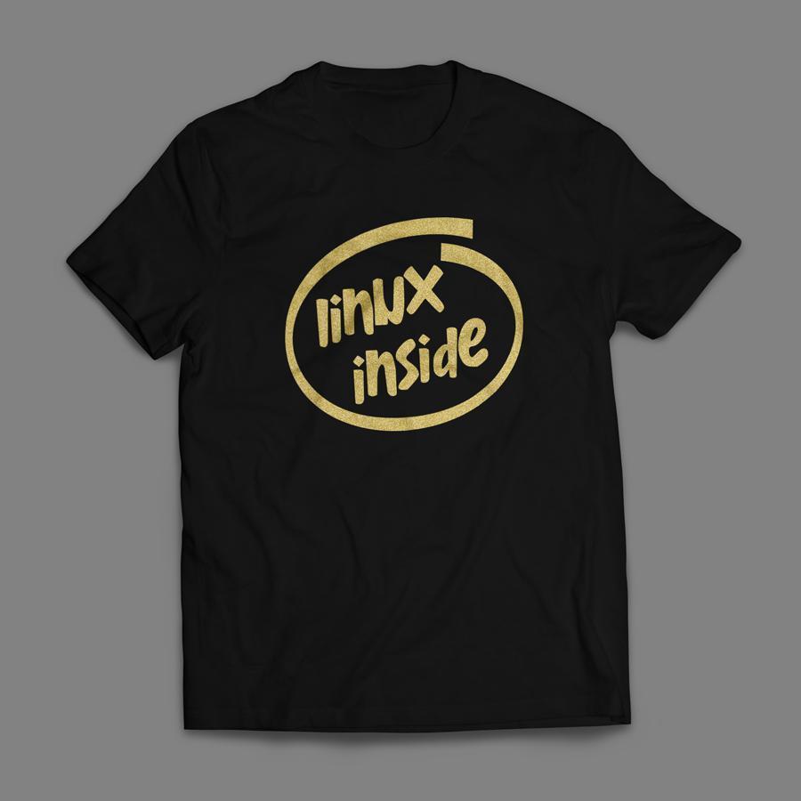 Camiseta Linux Inside Masculina Preta